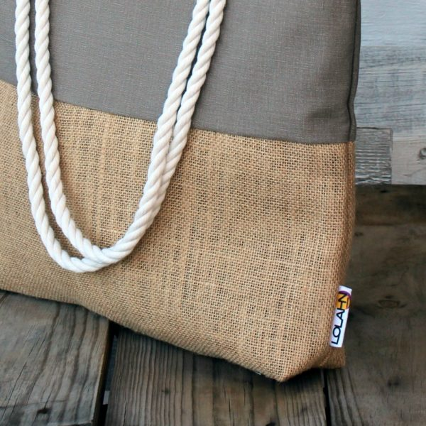 Bolso bolsa playa bag beach tasche Strandtasche hecho diseño españa tela saco arpillera sackcloth Sackleinwand lona canvas slow tienda comprar taller confeccion Lolahn Handmade - marron 21